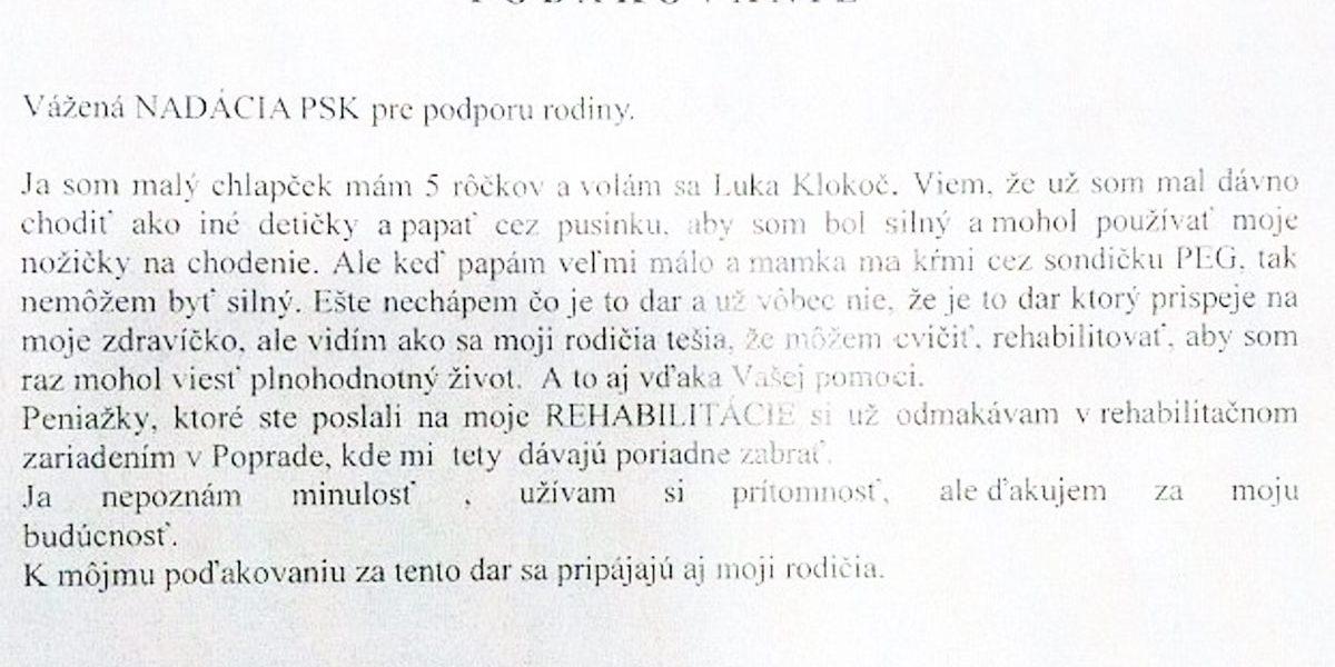 Poďakovanie Luka Klokoč
